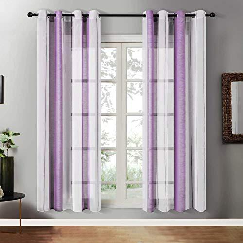 YEENUEER Cortina transparente de gasa con ojales, cortina transparente para ventana, salón o dormitorio, juego de 2, 140 x 160 cm, color lila
