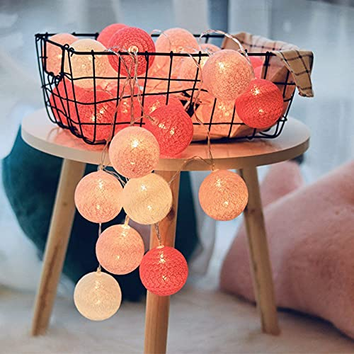 YQGOO Guirnalda de Bolas de algodón LED Cadena de Luces Luces al Aire Libre 3000k Blanco cálido Funciona con Pilas Vacaciones Boda Fiesta de Navidad Dormitorio Decoración Luces de Hadas