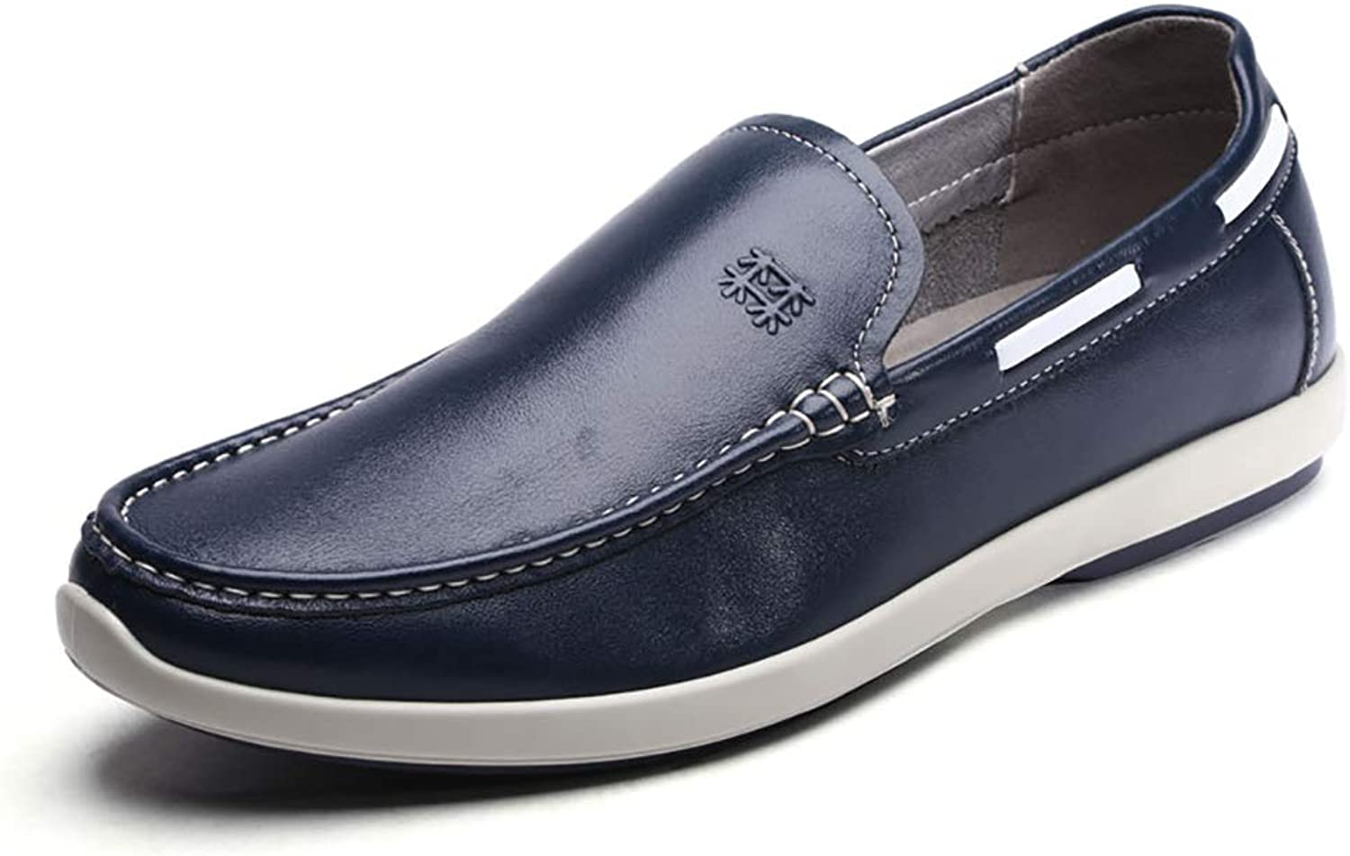 LXLA- Men's Business Casual Slip-on Leather shoes, Mens Comfortable Plain Toe Loafers for Men (color   bluee, Size   41)
