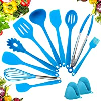 amrta utensili da cucina set in silicone antiaderente 12 pezzi, cucchiai e turner, resistente al calore premium casa strumenti di cottura kit,rosso verde nero blau (blu)