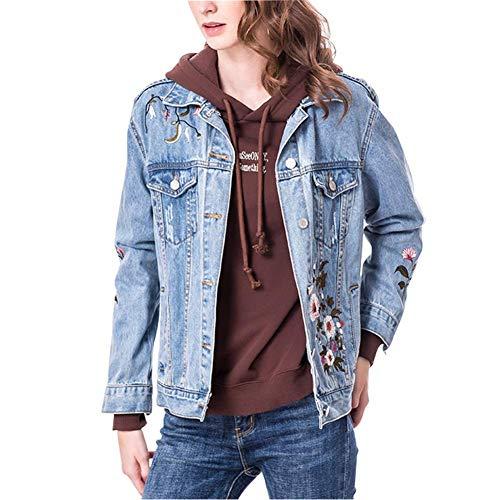 Saoye Fashion Chaqueta Vaquera para Mujer con Loose Floral Bordado Fray Mode De Marca Jeans Abrigo Corto para Niñas Moda 2019 Ropa De Mujer (Color : Azul Claro, Size : Small)