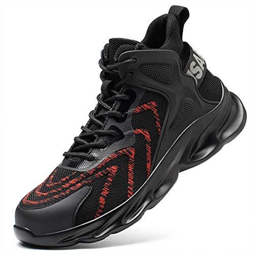 Phefee Zapatos de seguridad para hombres con puntera de acero, botas de trabajo, ligeras, transpirables, construcción industrial, zapatillas de deporte, color Rojo, talla 42.5 EU