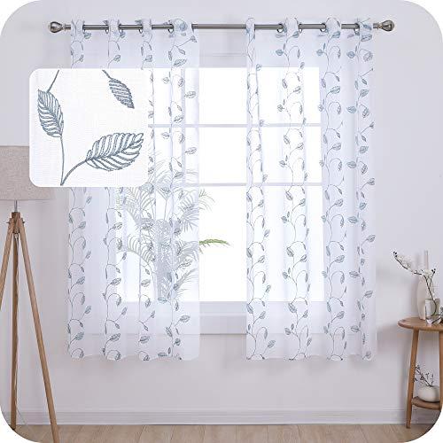 UMI Amazon Brand 2 Stück Vorhang Halbtransparent Ösenschal Voile Gardinen Leinentextur Gardinen Vorhänge Kinderzimmer 175x140 cm Blaugrün