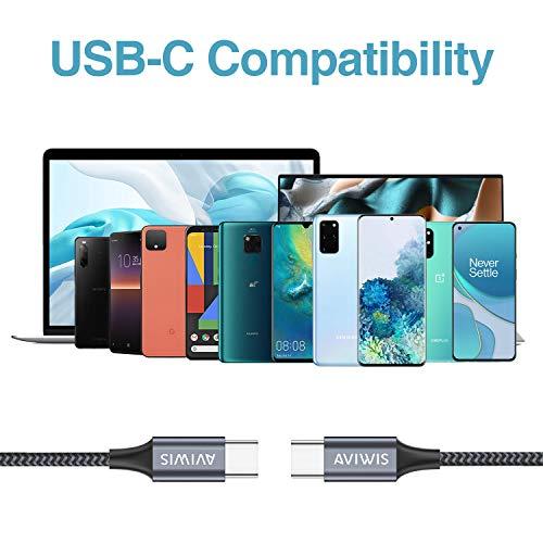 AVIWIS USB C auf USB C Kabel 1M USB Typ C 60W 20V/3A Power Delivery Ladekabel USB C PD Schnellladekabel Kompatibel mit Samsung Galaxy S20 Note20, Huawei P40 P30, Google Pixel, MacBook Pro, iPad Pro