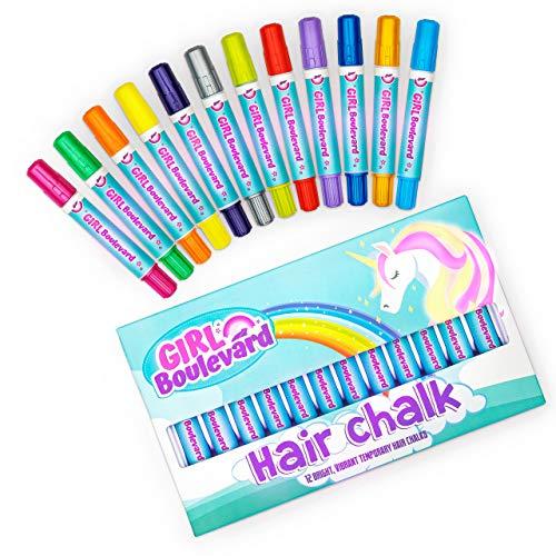 Girl Boulevard Haarkreide für Kinder – 12 Farben waschbare Haarfarbe für Kinder – Haarkreide für Mädchen mit dunklem Haar, blondes und rotes Haar – lebendige temporäre Haarfarbe für Kinder – auswaschbar mit Shampoo