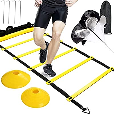 BUYGOO Speed Agility Training Set-Includes Agility Speed Ladder 6 m Adjustable 12 Rungs Agility Ladder, Resistance Parachute, 4 Steel Stakes, 10 Disc Cones - Kit for Soccer,Hockey, Basketball