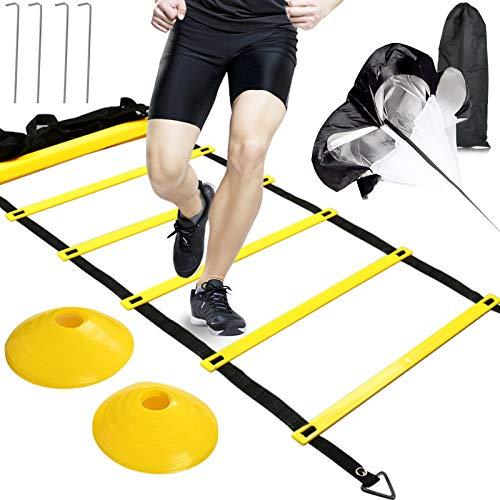 BUYGOO Escalera de Agilidad, Velocidad y Coordinacion fútbol Duradera Trainingsleiter Deportes Equipo Entrenamiento Funcional para Fitness, Fútbol, Hockey, Baloncesto