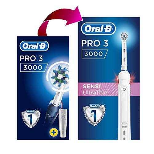 Oral-B Pro 3 3000 CrossAction Electric Rechargeable Toothbrush Powered by Braun