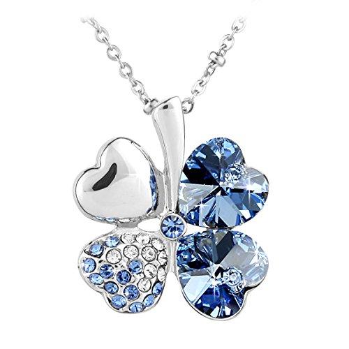 Le Premium Collana Pendente con Trifoglio con Elementi Swarovski Crystal Blu Zaffiro Chiaro Confezione Regalo
