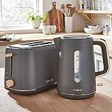 Stylish Scandinavian Design- Tower Scandi 1.7L 3kW Cordless Rapid Boil Grey Kettle and Matching Grey 2 Slice Toaster
