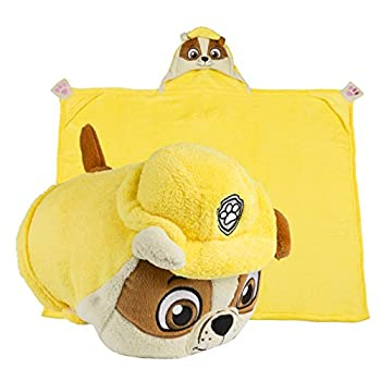 Comfy Critters PAW Patrol Rubble Kids Stuffed Animal Dog Blanket - Huggable Toy Pillow Perfect for Play Travel Nap Time and Fun