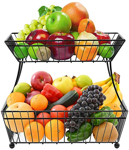 Sorbus Fruit Bread Basket, 2 Tier Countertop Rack, for Vegetable, Snacks, Household Items, Kitchen Storage Organizer, (Black)