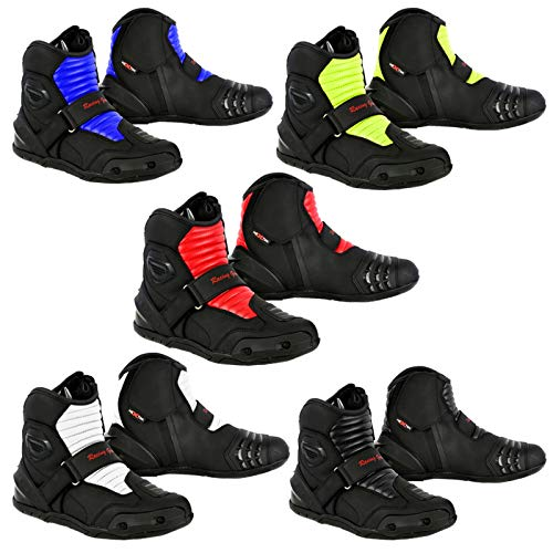 Profirst Global Motorbike Boots Motorcycle Waterproof Riding Shoes Short Ankle - Touring Boot for Men's Boy - Green UK 10