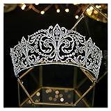 YUGHJFEN Accesorios para el Cabello de Novia Accesorios for el Cabello de la Boda Nupcial clásico Princesa Cumpleaños Tocado Crown Deedband Femenino Accesorios for Mujer (Metal Color : Silver)