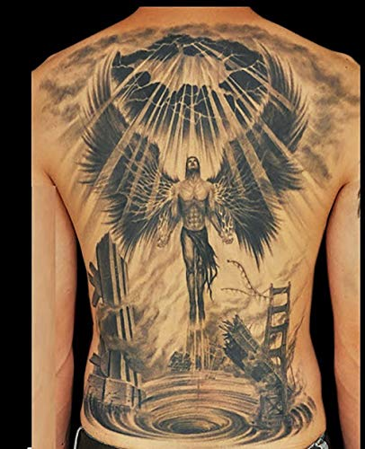 2 Sheets Full Back Temporary Tattoos For Men Women Doomsday Angel Fashion Religion Body Art Jesus Christ Holy Light Sticker Sexy Fake Tattoo Special Design Waterproof Black Tattoos