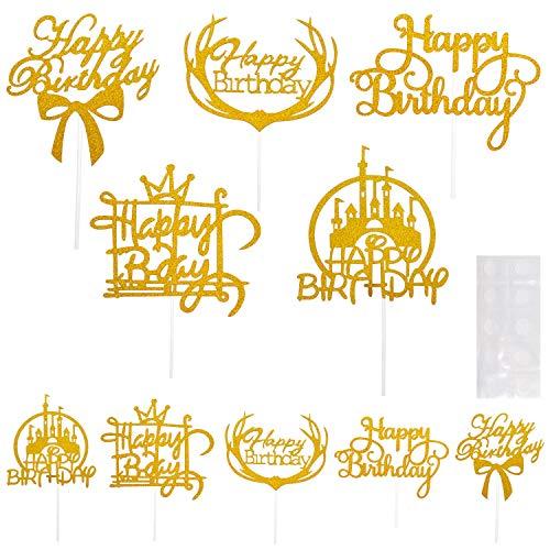 10Pcs Decoraciones Toppers de Tarta Adorno de Pastel Dorado Cupcake Toppers Happy Birthday Suministros Decoración para Tarta de Feliz Cumpleaños, Fiesta, San Valentín, Boda, 5 Estilos