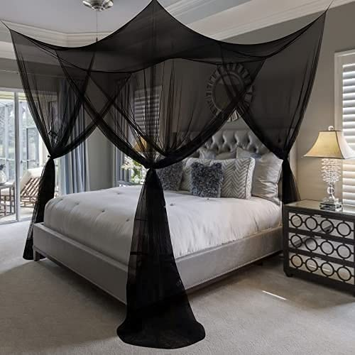 4 Corner Post Bed Canopy, Canopy Cover Mosquito Net Canopy Bed Curtain Bed Drapes for Full Queen King Bed Bedding or Outdoors Netting Suitable for Indoor and Outdoor Nets Black