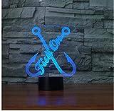 Lámpara de ilusión 3D Diagrama de anzuelo de pescado 7 colores Interruptor táctil USB Iluminación del sueño Decoración Niños Dormitorio Niños Luz Juguetes de noche Decoración de cu-16 colors remote