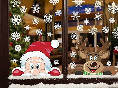 heekpek Adesivi per Finestre Decorazioni per Finestre con Focchi di Neve Adesivi per Babbo Natale Adesivi in PVC Atossici Decorazioni Natalizie per la Casa e Il Commercio