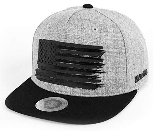 "Flipper USA American Flag Flat Brim Bill Baseball Cap Classic Snapback Hat for Men Women Version.2 with 3 Sizes (Gray/Black, X-Large (23 1/2"" ~ 23 7/8""))"