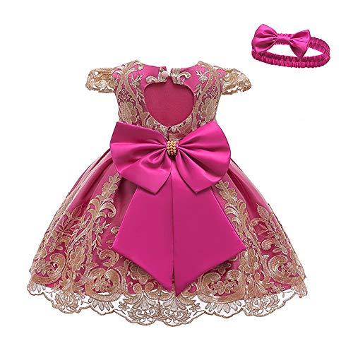LZH Baby Mädchen Kleider Weihnachten Kleider Schleife Prinzessin Kleider mit Stirnband Für Party Geburtstag Hochzeit Tutu Prinzessin Blume Spitzenkleid