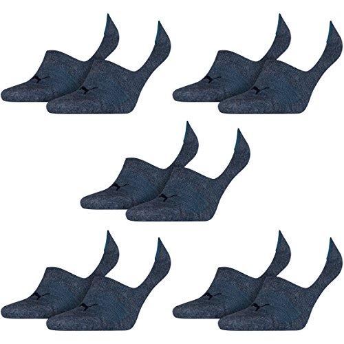 PUMA 10 Paar Socken Footie Sportsocken Invisible Gr. 35-46 Unisex, Farbe:460 denim blue, Socken und Strümpfe:39-42