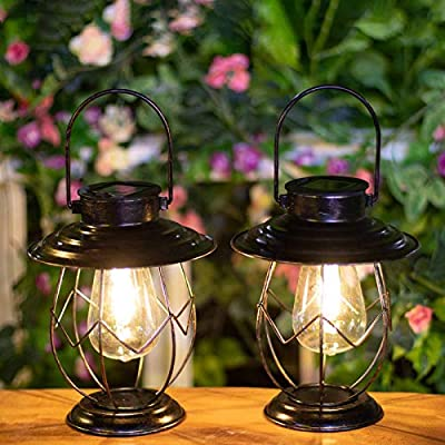 Polami 2 Pack Solar Lanterns Outdoor Hanging Solar Lights Decoration with Waterproof Warm Light Bulb for Patio Garden Pathway Yard Table Decor