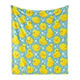 Lunarable Cartoon Soft Flannel Fleece Throw Blanket, Happy Rubber Duck and Bubbles Pattern Theme Art, Cozy Plush for Indoor and Outdoor Use, 50' x 60', Yellow Aqua