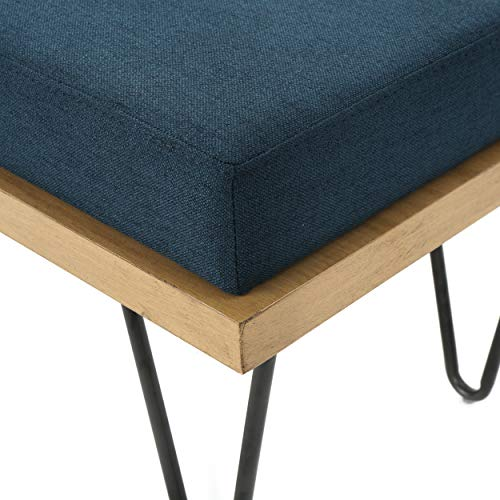 Christopher Knight Home Elisha Industrial Modern Fabric Bench, Navy Blue / Matte Black