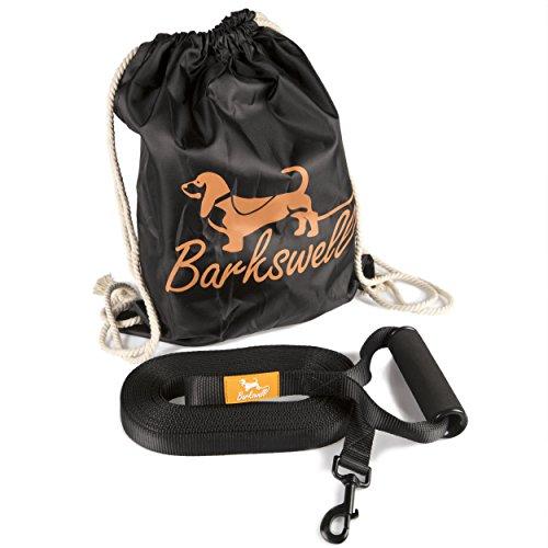 Schleppleine für Hunde - Hunde Trainings Leine – 9m lang für Welpen und Hunde – Schaumstoff gepolsteter Walzen-Griff – kostenlose Tragetasche – aus langlebigem Nylon hergestellt – 2.5cm breit
