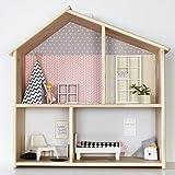 Limmaland Puppenhaus Tapete für IKEA FLISAT Holz Puppenhaus (Farbe Rosa/Grau) - Möbel Nicht...