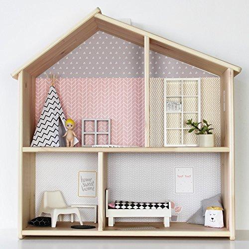 Limmaland Puppenhaus Tapete für IKEA FLISAT Holz Puppenhaus (Farbe Rosa/Grau) - Möbel Nicht inklusive