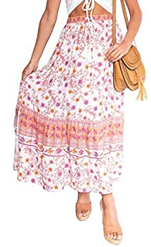 YIBOCK Womens High Waist Boho Floral Print Side Slit Pleated A Line Maxi Swing Skirt with Pockets Pink