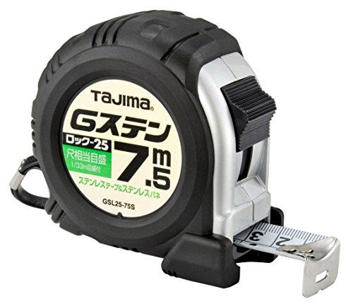タジマ(Tajima) コンベックス ステンレステープ7.5m×25mm Gステンロック25 尺相当目盛付 GSL2575SBL