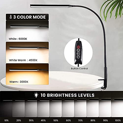 Lámpara Escritorio LED 10W Lámpara de Lectura Flexo de Escritorio, 360° Cuello Flexible, Protección Ocular Mesa Lámpara 3 Modos Color Regulable para Estudio, Oficina, Negro