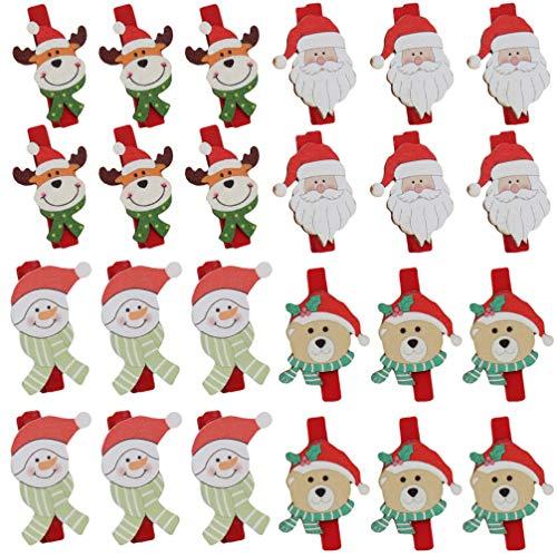 Toyvian 4 Pakete Weihnachten Wäscheklammern Klemme DIY Kunst Handwerk Cartoon Santa Claus Schneemann Elch Bär Muster Winzigen Fotoclip Goodie Bag Füllstoffe für Kinder Erwachsene