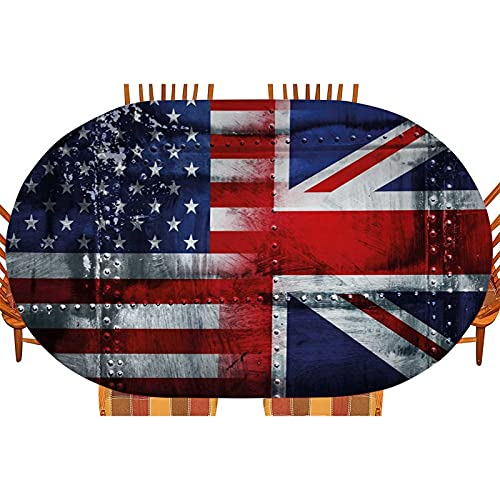 Union Jack Oblong/Oval Elastic Edged Fitted Table Cover, Alliance Togetherness Theme Composition of UK And USA Flags Vintage for Buffet Banquet Parties Event Holiday Dinner 60 x 104 inch Red and stars