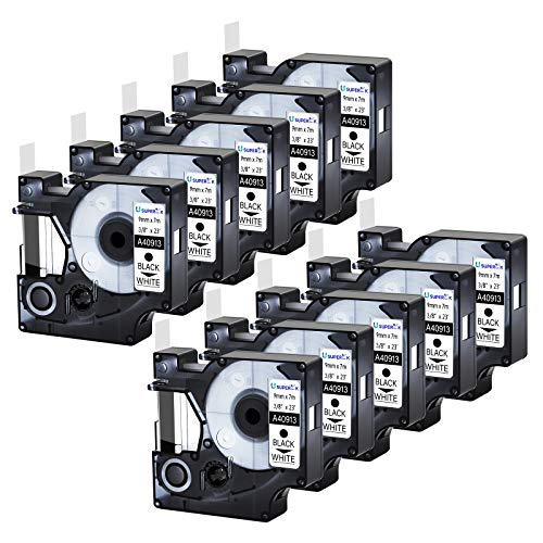 USUPERINK 10PK Compatible for DYMO D1 40913 41913 S0720680 9mm 3/8''x 23ft Black on White Label Tape Cartridge Refill for LabelManager 160 280 360D COLORPOP LabelWriter 400 450 Duo Label Maker