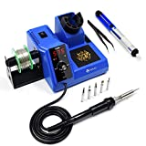 TOAUTO Soldering Station,80W Digital Solder Iron Station Kit with 176°F-896°F Temperature, C/F Func, Auto Standby & Sleep, Temperature Lock,5 Extra Solder Tips, Solder Bracket, Solder Sucker,FT-80W