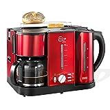 BEEM Germany Ecco 3 in 1 - Centro de desayuno, cafetera, hervidor de agua, máquina de café y tostador, color rojo brillante
