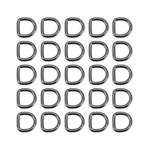 DyniLao 25pcs Metal D-Ring 0.8'(20mm) D-Rings Buckle for Material Bags Belts DIY Crafts Accessories Black