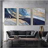 Tik LP Poster De Lámina De Oro Abstracto Azul Océano Paisaje Arte De La Pared Imprimir Lienzo Pintura Sala De Estar Nordic Decoración del Hogar (Size : 24x32in)
