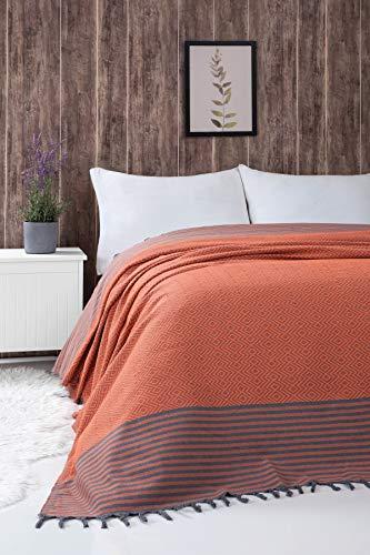 Belle Living Atil Tagesdecke Überwurf Decke - Wohndecke hochwertig - perfekt für Bett & Sofa, 100prozent Baumwolle - handgefertigte Fransen, 200x250cm (Orange)