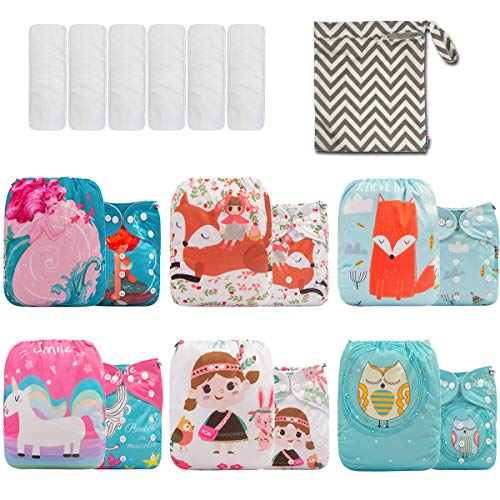 SMALLKE Baby Cloth Diaper One Size Washable Reusable 6 Pack Pocket Cloth Diapers with 6 Microfiber Inserts + 1 Wet Bag 6NK03