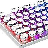 HIAHA Tastiera meccanica, copritasti retro punk stile macchina da scrivere vintage, tastiera computer 104 tasti per tasti, set di tasti bagliore per giocos PC White