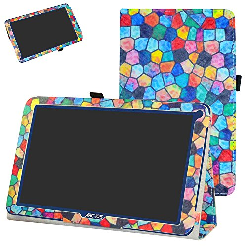 Mama Mouth ARCHOS 101E Neon Funda, Slim PU Cuero con Soporte Funda Caso Case para 10.1' ARCHOS 101E Neon Android Tablet PC,Stained Glass