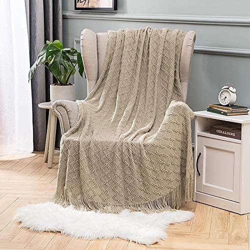 MIULEE Kuscheldecke Diamant Fleecedecke Decke Weich Flauschig Einfarbig Wohndecken Couchdecke Sofadecke Blanket für Bett Sofa Schlafzimmer Büro, 125x150 cm Graubraun