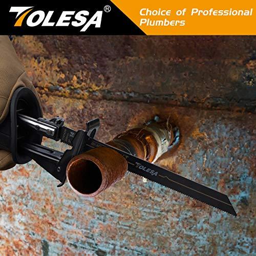 Product Image 2: TOLESA Reciprocating Saw Blade Bi-Metal Cobalt for Sawzall Saw 9-Inch 14TPI Metal Cutting - 5 Pack