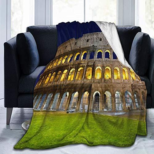 TARTINY Roma Coliseo Famoso Columna Arquitectura Arte Italia Antiguo Imperio Romano Símbolo Prado Luz Noche Escénico King (200x240cm) Manta de Franela Ligera y cálida Suave