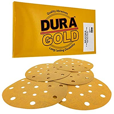 "Dura-Gold - Premium - 180 Grit - 6"" Gold Sanding Discs - 17-Hole Pattern Dustless Hook and Loop for DA Sander - Box of 50 Finishing Sandpaper Discs for Woodworking or Automotive"